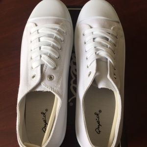 NEW QUPID NARNIS STYLE WHITE CANVAS SNEAKERS